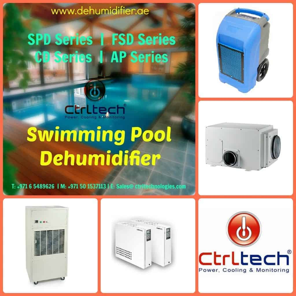 Swimming pool dehumidifier for pool room dehumidification.