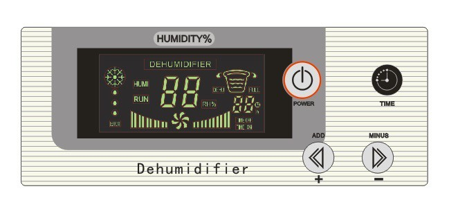 Commercial dehumidifier LCD control panel.