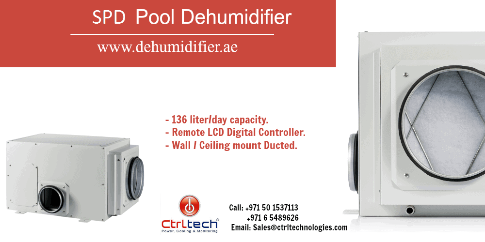 SPD indoor pool dehumidifier for indoor swimming pools.
