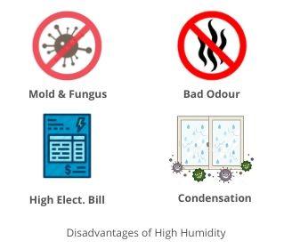 Disadvantages of high moisture.