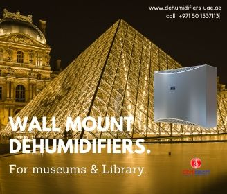 Wall mount dehumidifiers for museum and library.